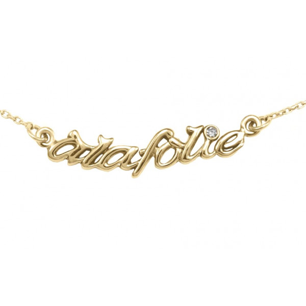 Choker chain 'Alafolie', yellow vermeil, white diamond,