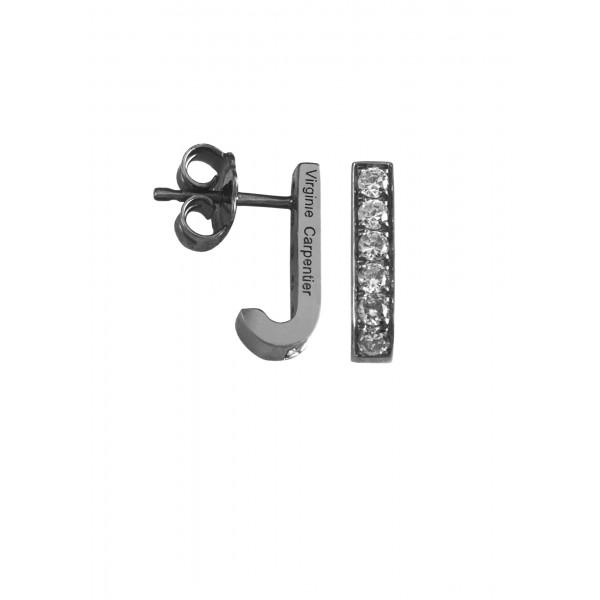 Pills small drop earrings, silver 925, black rhodium, white Swarovski stones