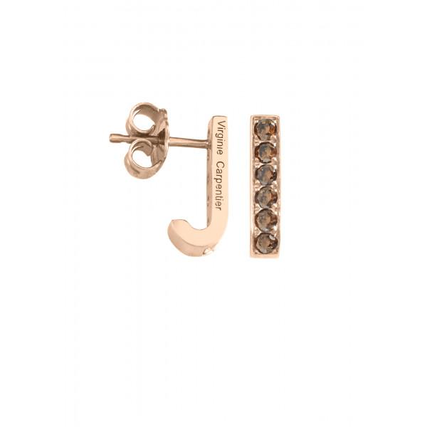 Pills, small drop earrings, pink vermeil, Cognac Swarovski stones