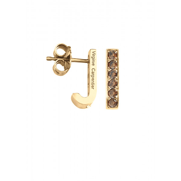 Pills small drop earrings, yellow vermeil, Cognac Swarovski stones