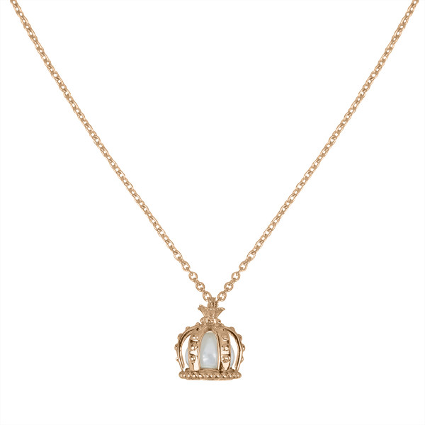 Princesse Tipois chain pendant, crown, pink  silver gilt, fresh water pearl