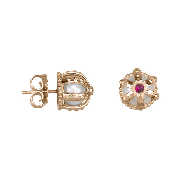 Princesse Tipois earrings, crowns, fresh water pearl, synthetic red stone Swarovski, pink silver gilt
