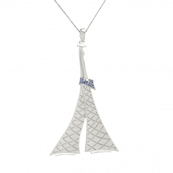 """Parizou -Parizette"", ""Parizette"" Chain Pendant, Satiny  And Polished Finish, 925 Silver, blue Swarovski crystals,"