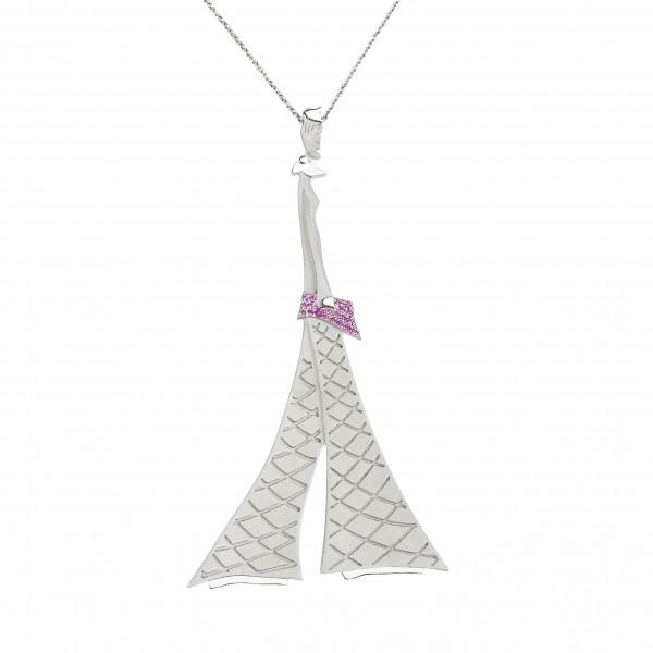 """Parizou -Parizette"", ""Parizette"" Chain Pendant, Satiny And Polished  Finish, 925 Silver, red Swarovski crystals,"