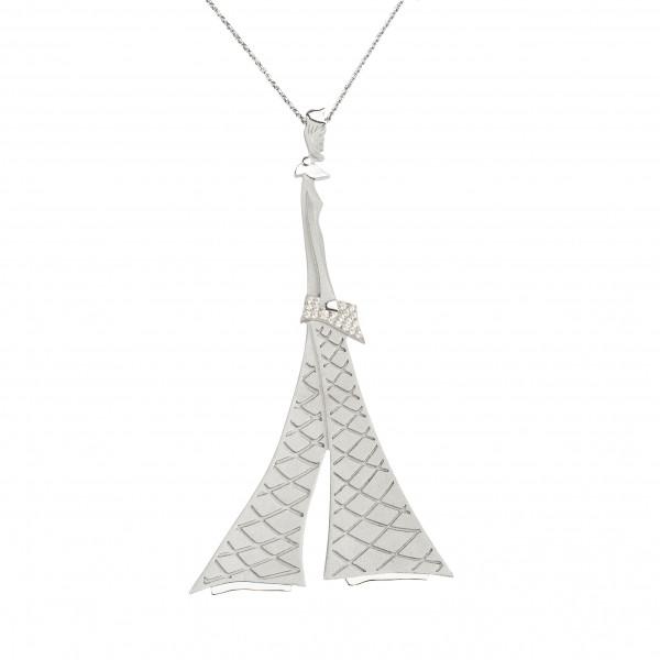 """Parizou -Parizette"", ""Parizette"" Chain Pendant, Satiny And Polished finish, 925 Silver, white Swarovski crystals,"