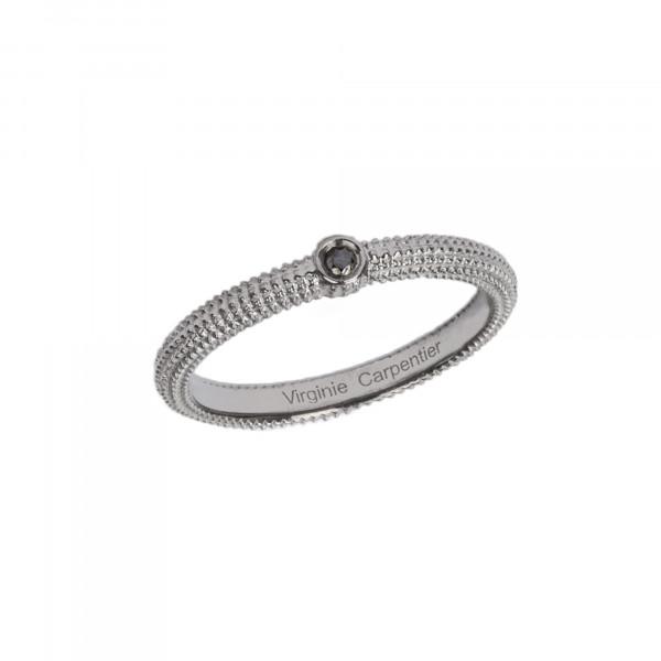 Pills, guilloched ring, 18k white gold, black diamond,