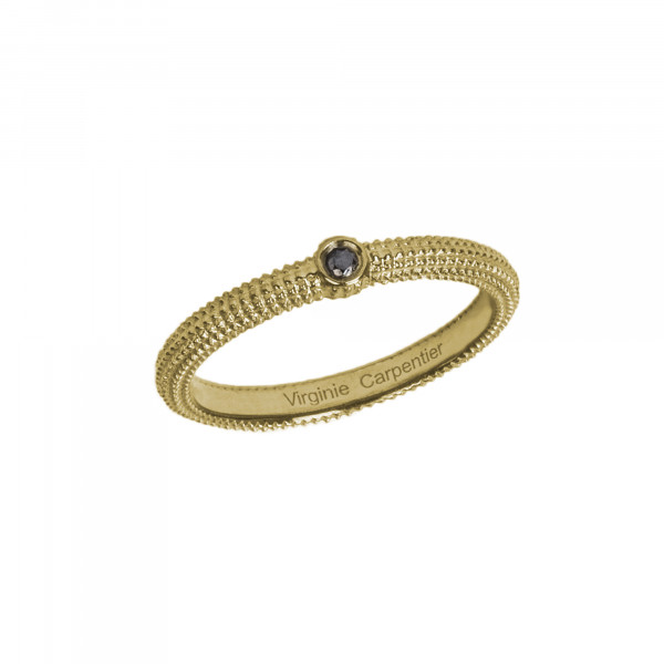 Pills, guilloched Ring, yellow gold-plated 925 silver, black Diamond,