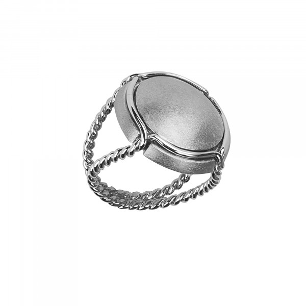Champ!, signet ring, white rhodium-plated 925 silver satiny capsule, white rhodium-plated 925 silver twisted ring,