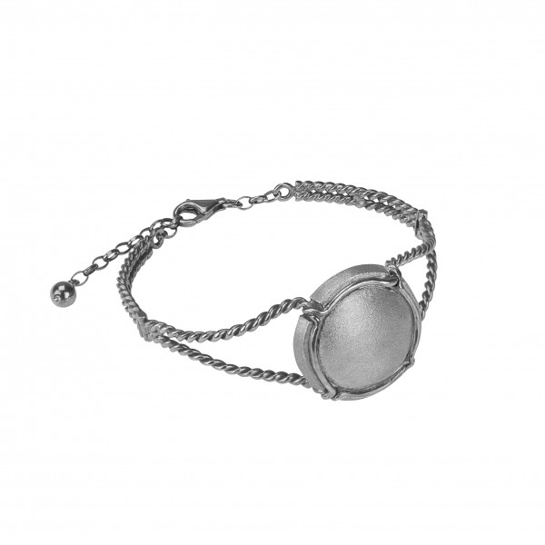Champ!, twisted bangle, white rhodium-plated 925 silver 925, satin-finish capsule, white rhodium-plated 925 silver, (Size M)