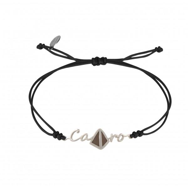 Globe-Trotter, Cairo bracelet, 925 silver, white rhodium, nylon cord,