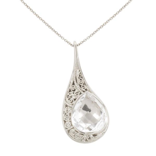 """La larme du Crocodile"", ""The Crocodile Tear"", necklace chain, pendant, filigree, white rhodium 925 silver, Rock Crystal, faceted, pear cut,"