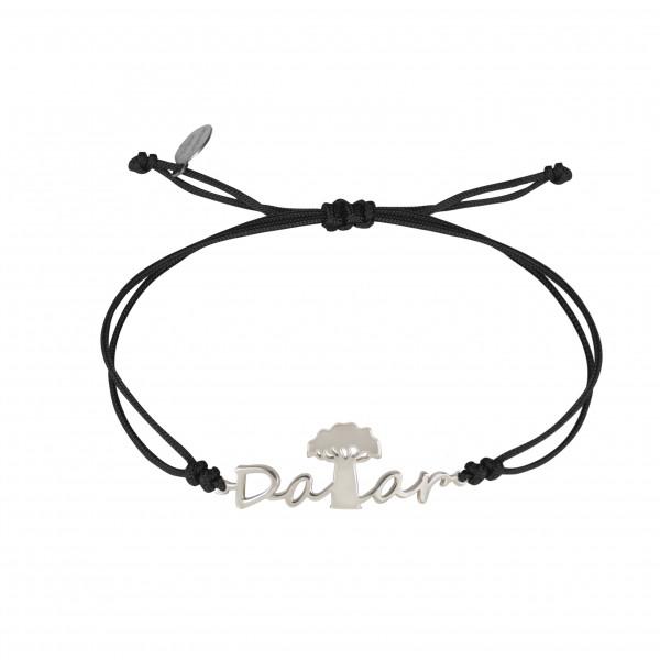 Globe-Trotter, Dakar bracelet, 925 silver, white rhodium, nylon cord,