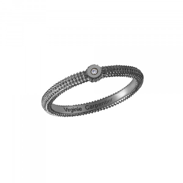 Pills, guilloched ring, 18k black gold, white diamond,