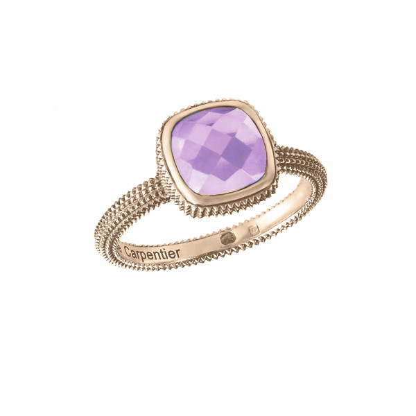 Pills, guilloched ring, rose gold-plated 925 silver, faceted amethyst, cushion size,