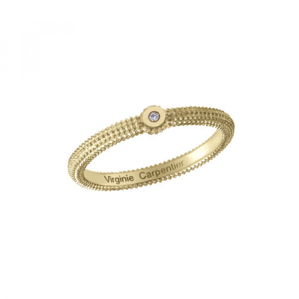 Pills, guilloched ring, 18k yellow gold, white diamond,
