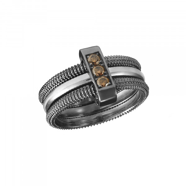 Pills, trio ring, black rhodium-plated 925 silver, white rhodium-plated 925 silver, Cognac Swarovski stones,
