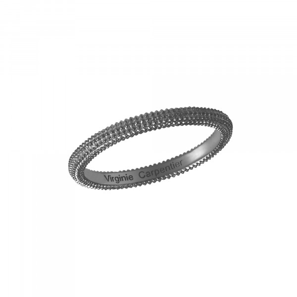 Pills, guilloched ring, black rhodium-plated 18-carat white gold,