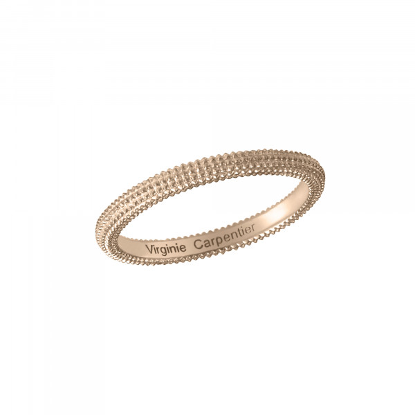 Pills, guilloched ring, 18k rose gold,