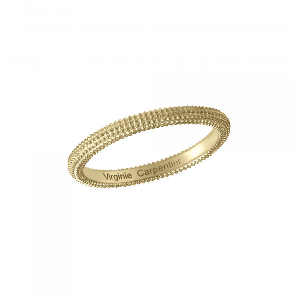 Pills, guilloched ring, 18k yellow gold,