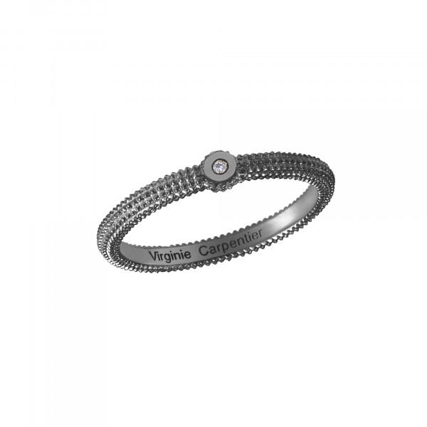 Pills, guilloched ring, 925 silver, black rhodium, white diamond,
