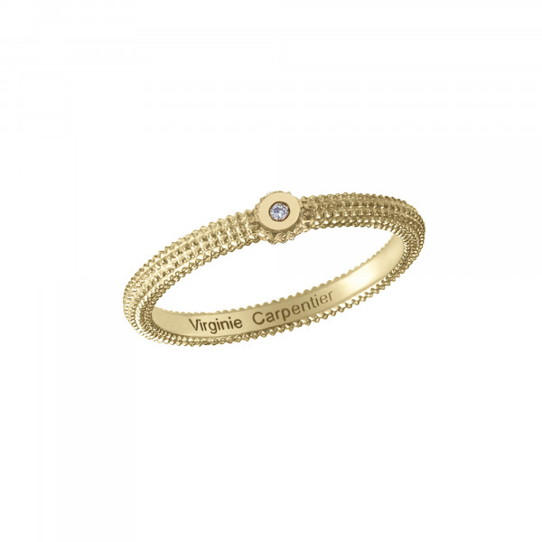 Pills, guilloched ring, yellow gold-plated 925 silver, white diamond,