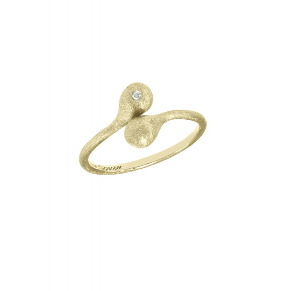 """""""Open Wallet"""", You & Me ring, purse clasp, sterling silver, yellow gold-plated, white diamond,"""