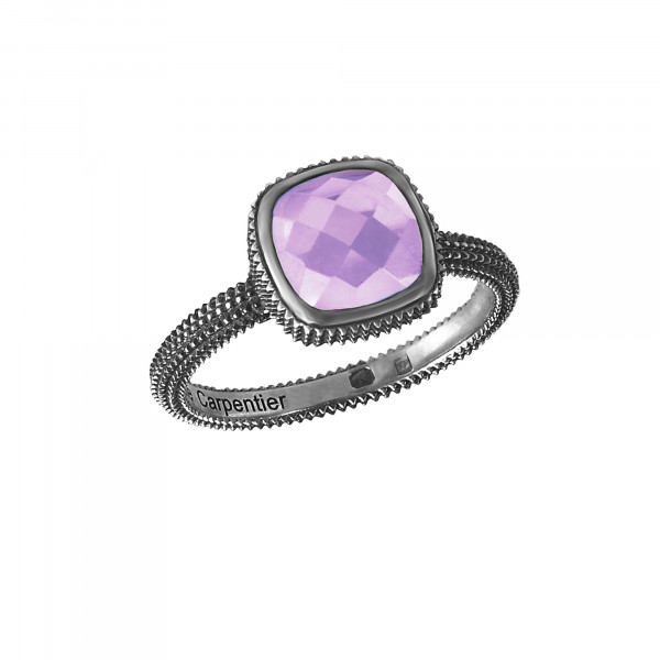 Pills, guilloched ring, black rhodium-plated, 925 silver, faceted amethyst, cushion size,