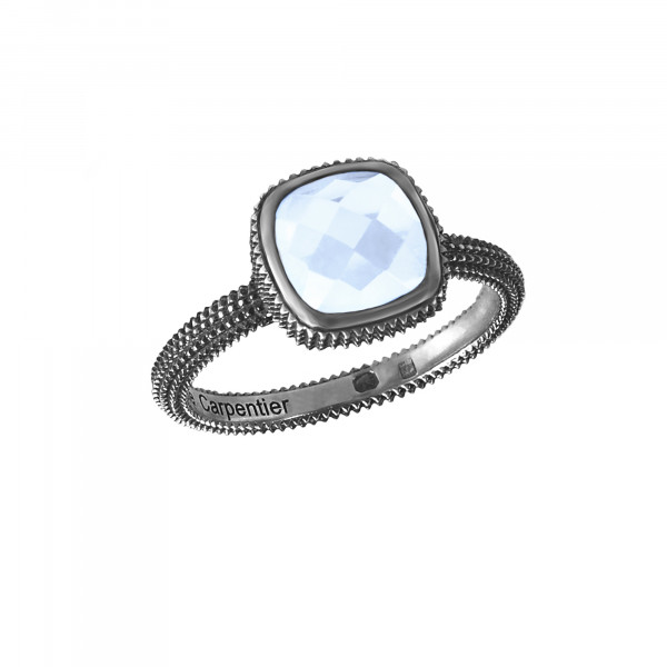 Pills, guilloched ring, black gold, faceted blue topaz, cushion size,
