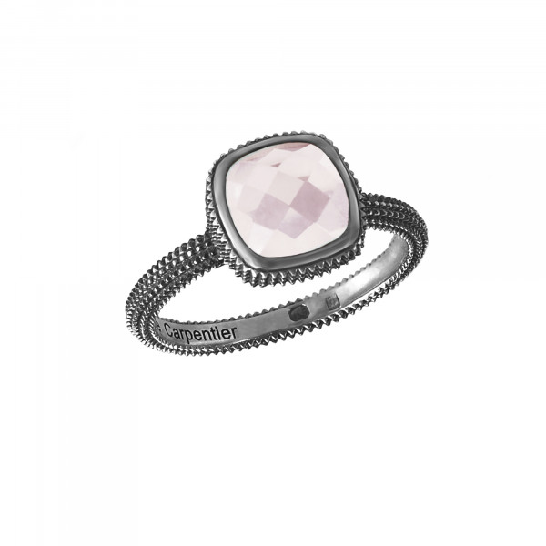 Pills, guilloched ring, black gold, faceted pink quartz, cushion size,