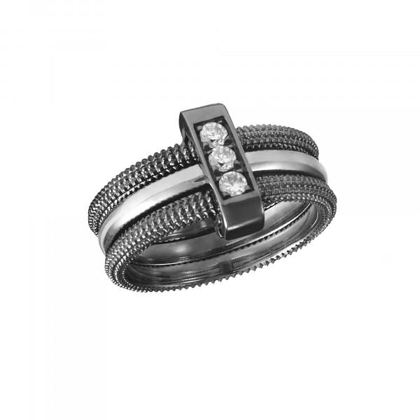Pills, trio ring, black rhodium-plated 925 silver, white rhodium-plated 925 silver, white Swarovski stones,