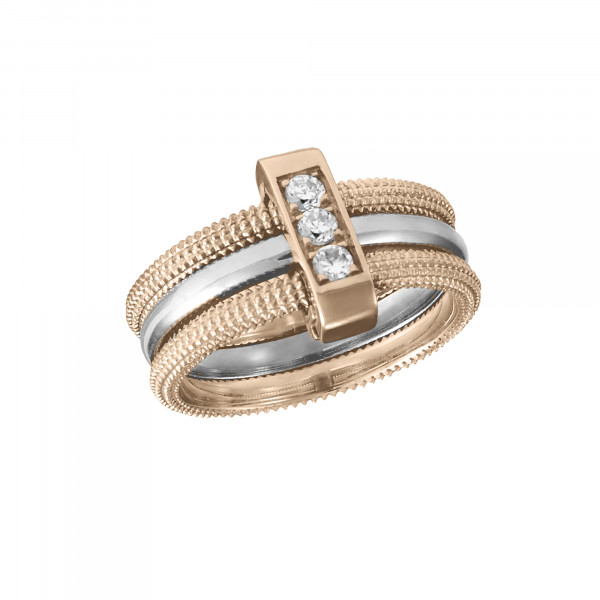 Pills, trio ring, rose gold-plated 925 silver, and white rhodium-plated 925 silver, white Swarovski stones,