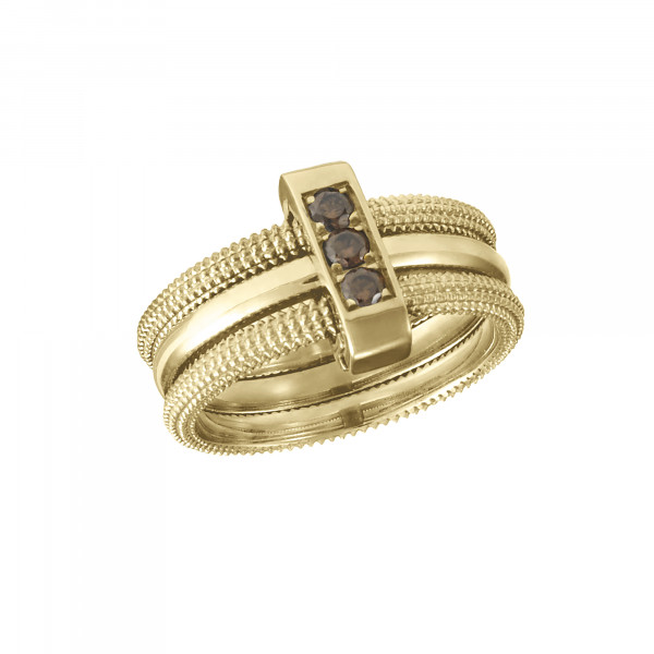 Pills, trio ring, yellow gold-plated 925 silver, Cognac Swarovski stones,
