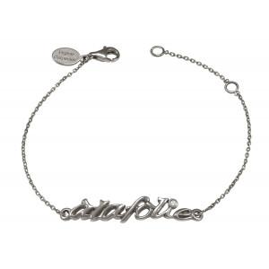 'Alafolie' chain bracelet, silver 925, black rhodium, white diamond,