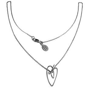 Joli Cœur necklace, choker chain, heart pendant, black  gold, white diamond,