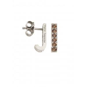 Pills, small drop earrings, silver 925, white rhodium, Cognac Swarovski stones