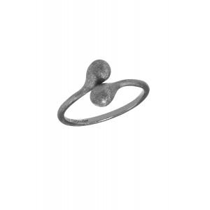 """""""Open Wallet"""", You & Me ring, purse clasp, sterling silver, black rhodium,"""