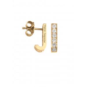 Pills small drop earrings, yellow gold, white diamonds