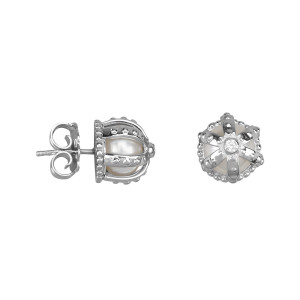 Princesse Tipois earrings, crowns, fresh water pearl, synthetic white stone Swarovski, silver 925