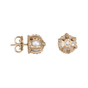 Princesse Tipois earings, crowns, fresh water pearl, synthetic  white  stone Swarovski, pink silver gilt