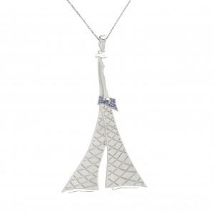 """Parizou -Parizette"", ""Parizette""  Chain Pendant, Satiny Finish And Polished Silver, blue Swarovski gemstones"