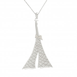 """Parizou -Parizette"", ""Parizette"" Chain Pendant, Satiny Finish And Polished Silver, white Swarovski gems."