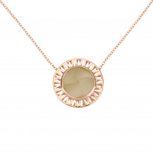 """Ma Cousine Tonkinoise"", chain necklace, pendant, Lemon Citrine, cone-shaped, rose gold,"