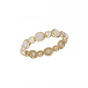 Marelle à Marbella wedding ring, Moon Stone cabochons, white diamonds, yellow gold