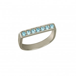 """Baby Candy"", stirrup ring, black rhodium-plated 925 silver, blue Swarovski stones,"