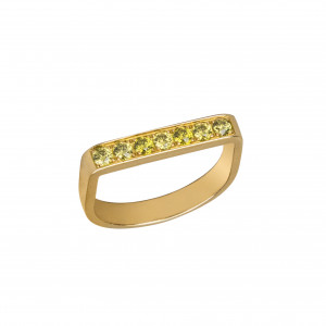 """""""Baby Candy"""", Stirrup Ring, yellow gold, green topazes,"""