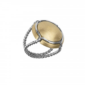 Champ!, signet ring, yellow gold-plated 925 silver satiny capsule, white rhodium-plated 925 silver twisted ring,