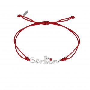 Globe-Trotter, Berlin bracelet, 925 silver, white rhodium, nylon cord,