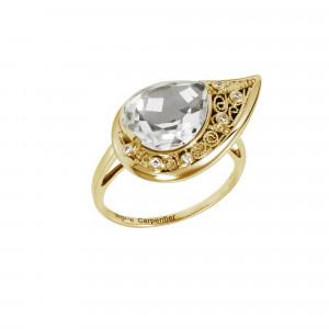 """La Larme du Crocodile"", ""The Crocodile Tear"", ring, filigree, yellow gold, Rock Crystal, faceted, pear cut, white diamonds,"