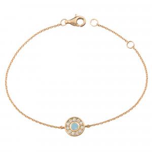 Marelle à Marbella, Chain bracelet, Milky Aquamarine cabochon, white diamonds, pink gold