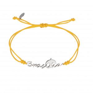 Globe-Trotter, Brasilia bracelet, 925 silver, white rhodium, nylon cord,